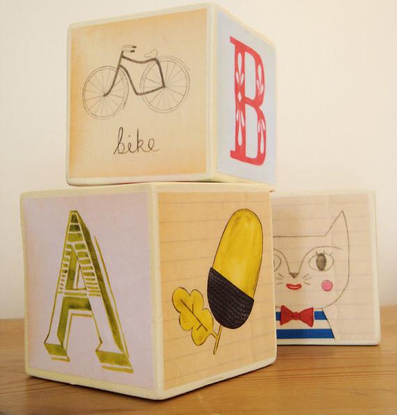 Handmade Illustrated Alphabet Blocks