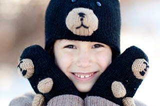 Fair Trade Wool Black Bear Hats & Mittens