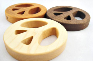 Organic Wood Peace Sign Teether