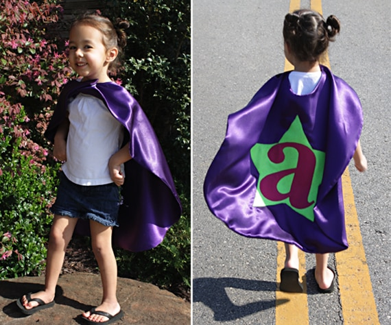 Initial Applique Superhero Cape