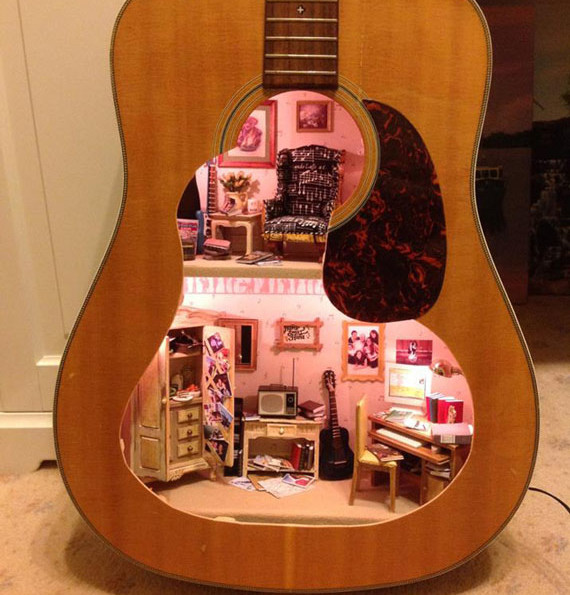 A Dollhouse Built Inside A Guitar