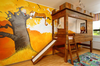 Calvin & Hobbes Themed Nursery With Tree Fort Bed