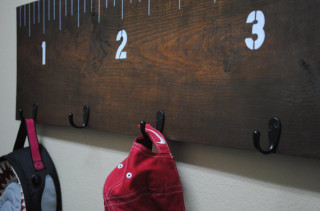 Wooden Ruler Coat Rack