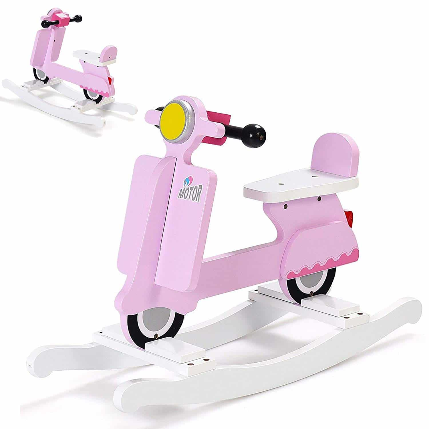 Pink Wooden Vespa Rocking Horse Scooter