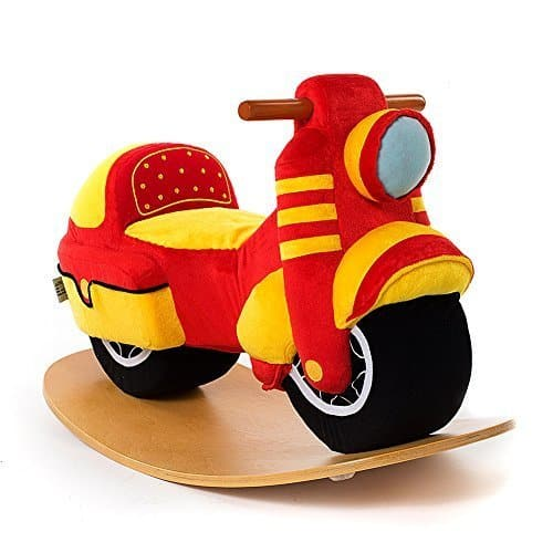 Plush Wooden Motorcycle Rocking Horse