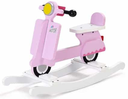 Pink vespa motorcycle rocking horse