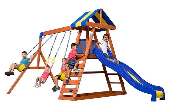 Backyard Discovery Dayton All Cedar Wood Play Swing Set