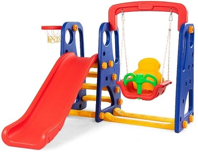 Kids playhouse and tree swing set
