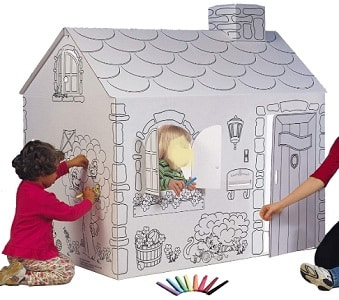 Cardboard coloring playhouse
