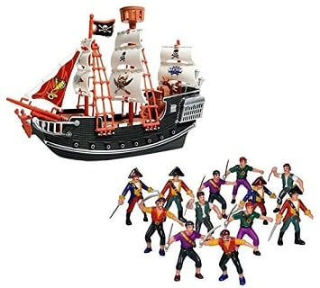 Toy Pirate Ship 12 Plastic Pirate Action Figures