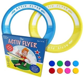 Blue and yellow flying rings for kids