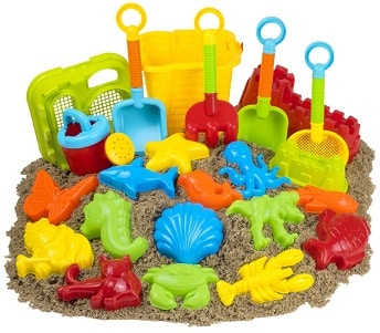 Colorful kids' beach toys set with sand